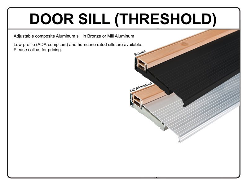Inswing Door Sills Z Series Adjustable Inswing Cap Sill